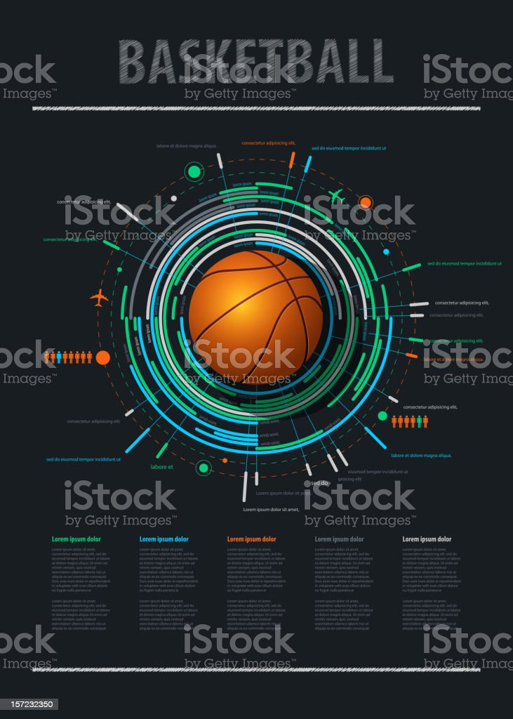 infographics element with sports basketball Ball royalty-free stock vector art
