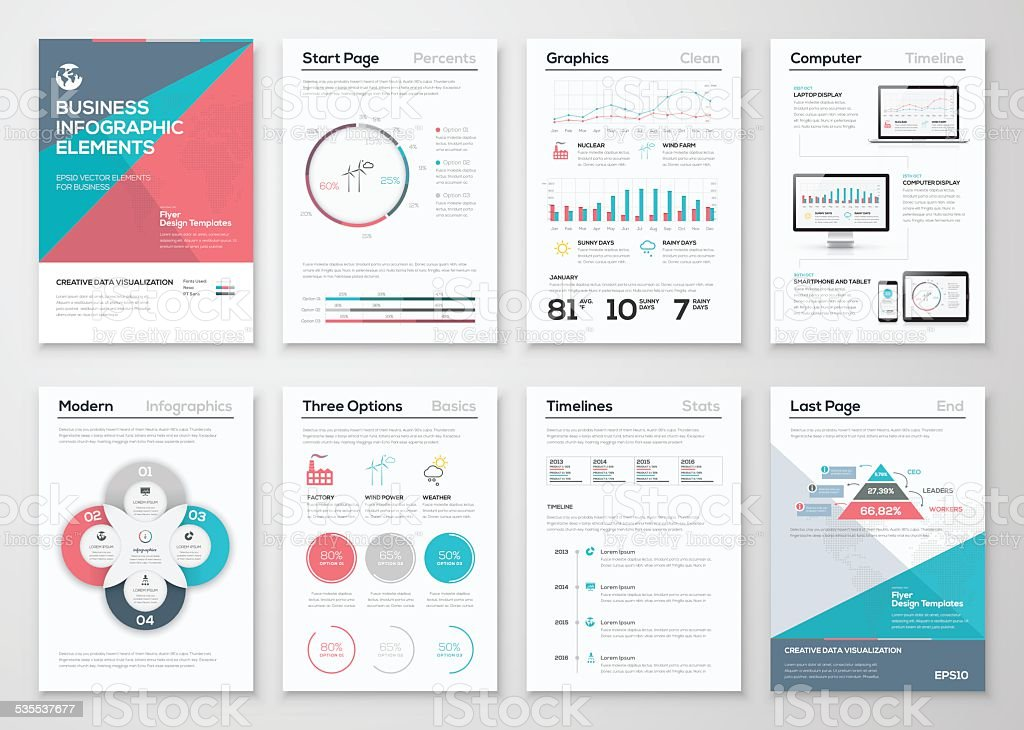 Infographics elements for business brochures and presentations royalty-free stock vector art