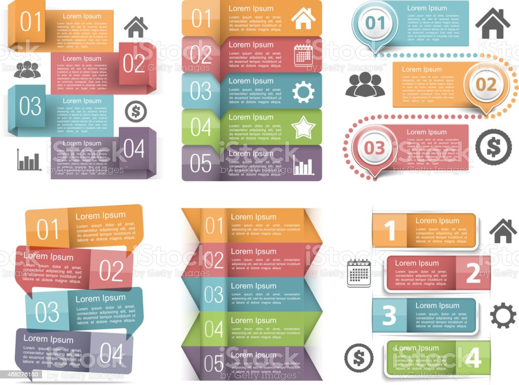 Infographics Elements with Numbers vector art illustration