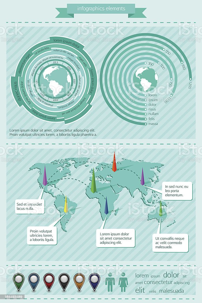 Infographics elements with world map royalty-free stock vector art