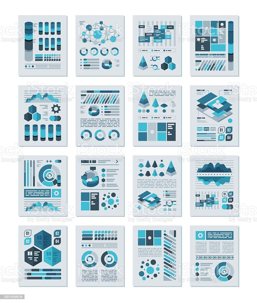 Infographics Flat Design Set vector art illustration