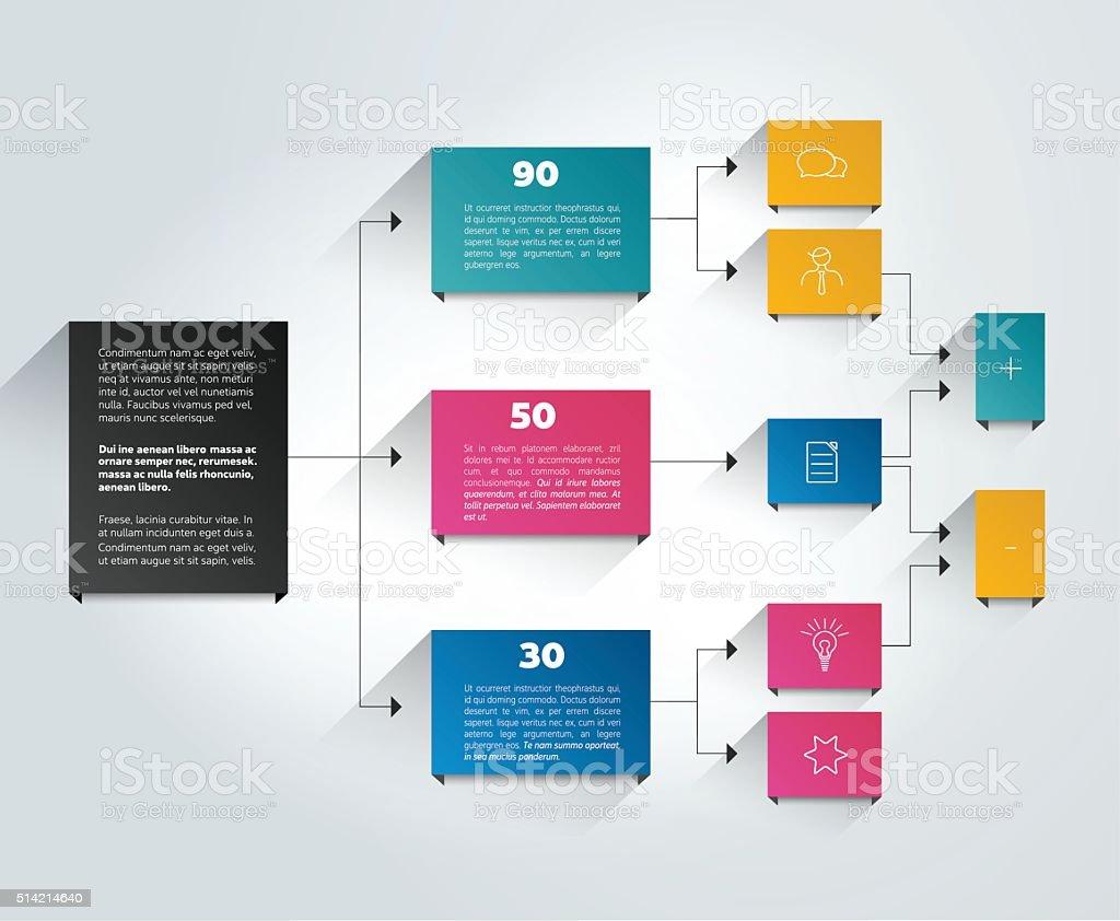 Infographics flowchart. Colored shadows scheme. vector art illustration
