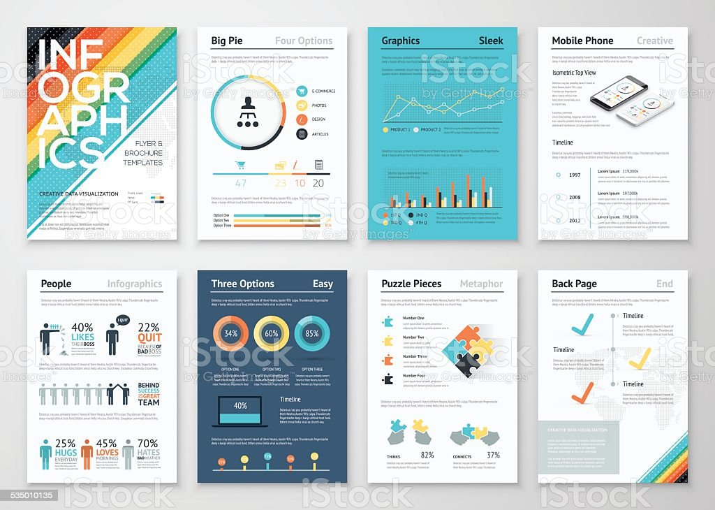 Infographics flyer and brochure elements for business vector art illustration