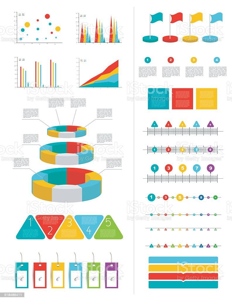 Infographics marketing set with charts, diagrams and speech bubbles. vector art illustration