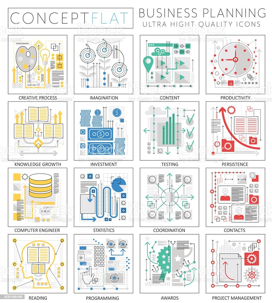 Infographics mini concept Project business finance planning icons for web vector art illustration