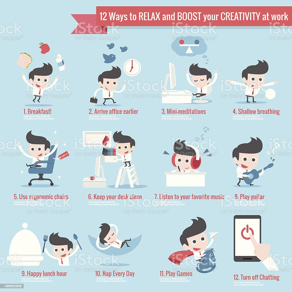 infographics of 12 ways to relax at work vector art illustration