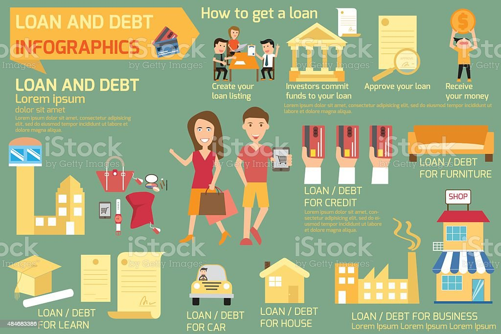 Infographics of loan and debt. business concept elements. vector vector art illustration