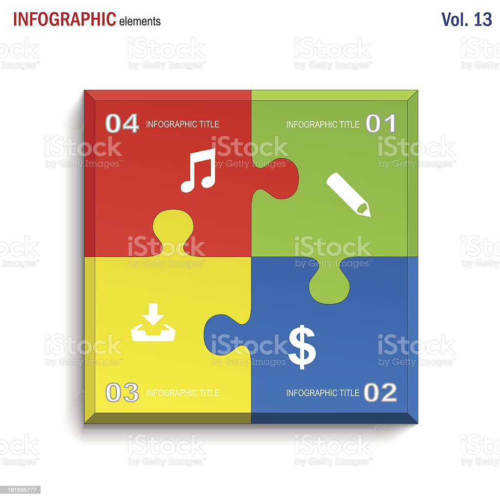 Infographics puzzle square royalty-free stock vector art