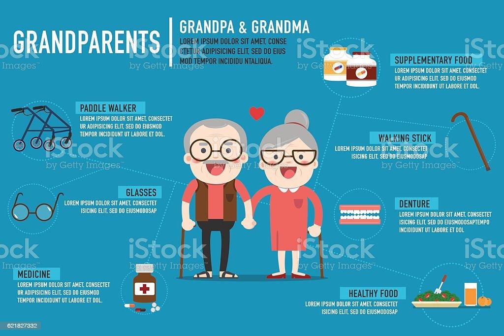 Infographics Retired elderly senior age couple. vector art illustration