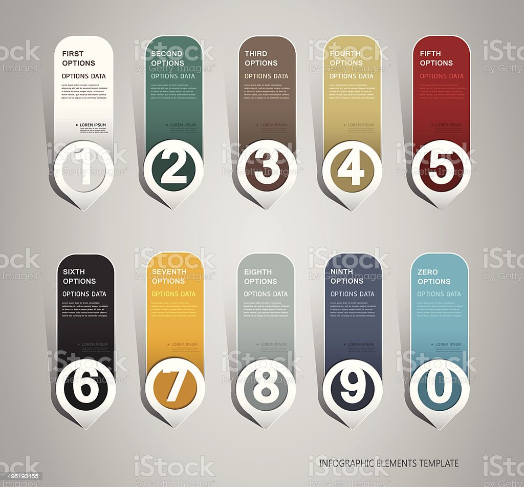 Infographics template design with numbered paper elements royalty-free stock vector art