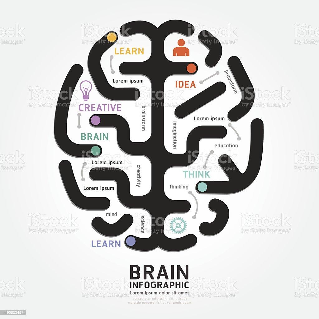 infographics vector brain design diagram line style template vector art illustration
