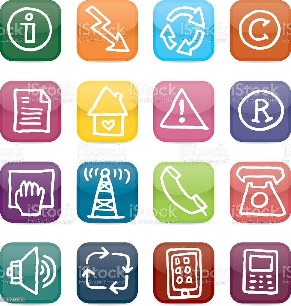 Information and communication glossy square icon set royalty-free stock vector art