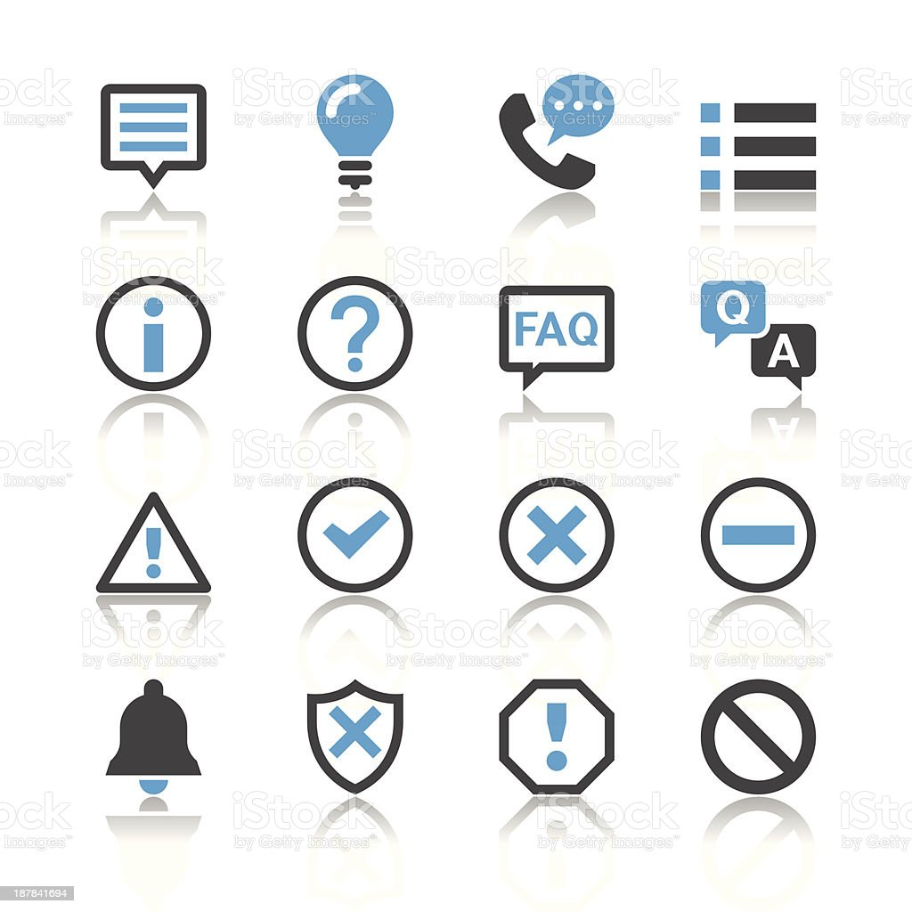 Information and notification icons - reflection theme vector art illustration