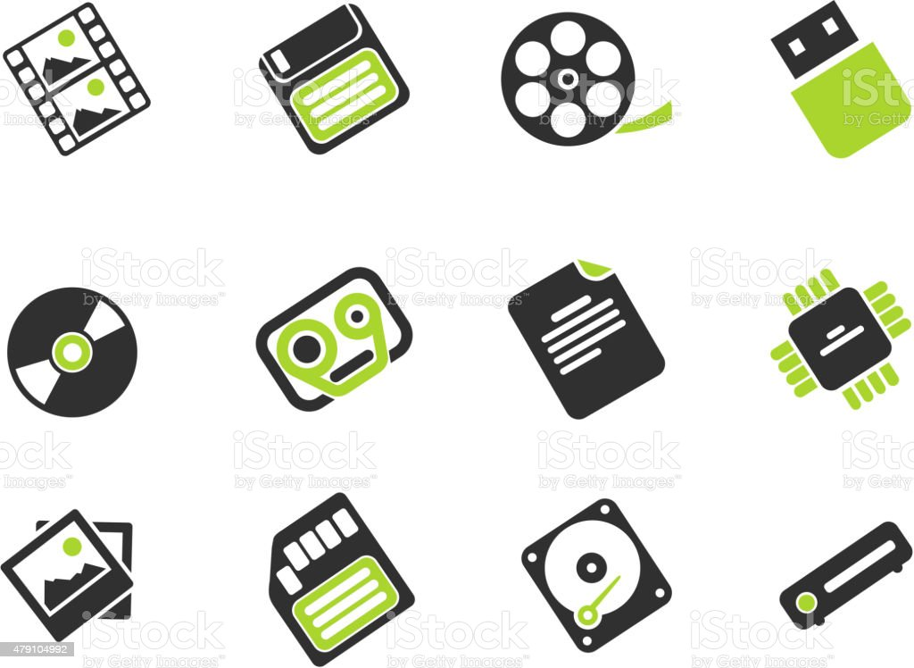 Information carriers icons vector art illustration