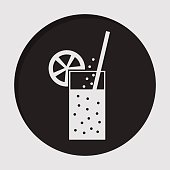 information icon - carbonated drink, straw, citrus