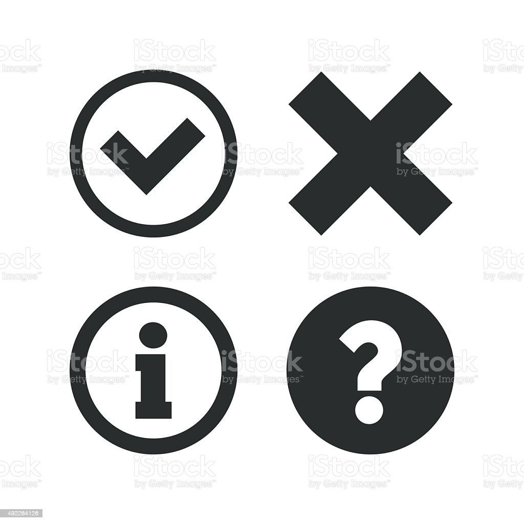 Information icons. Question FAQ symbol vector art illustration
