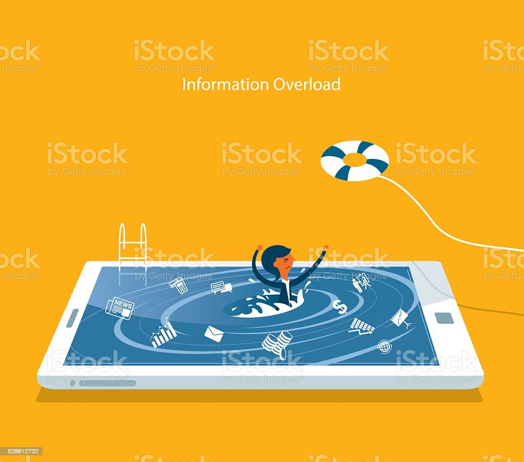 Information Overload vector art illustration