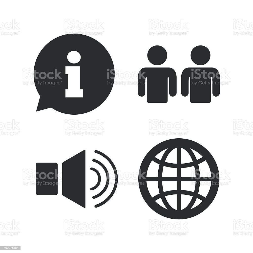 Information sign and group. Communication icons vector art illustration
