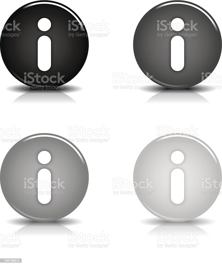 Information sign circle icon glossy gray black button reflection shadow royalty-free stock vector art
