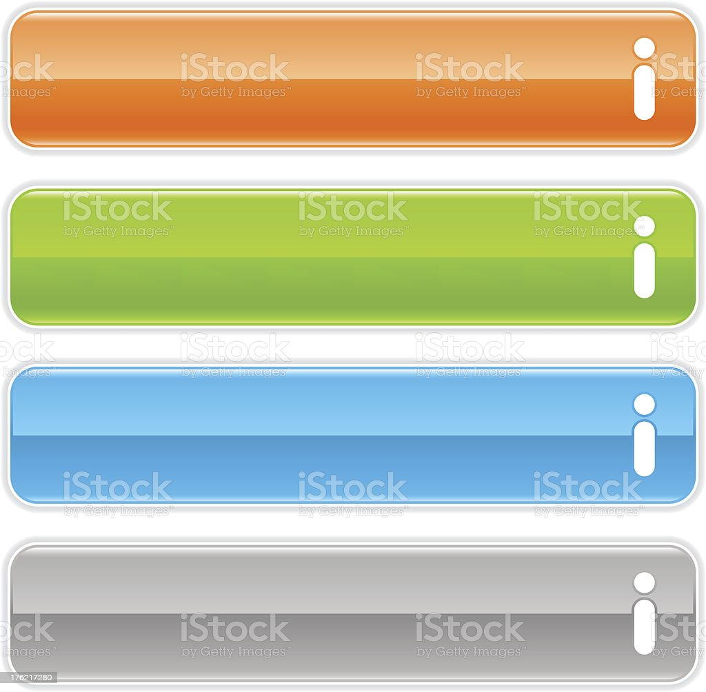 Information sign glossy icon orange green blue gray rectangle button royalty-free stock vector art