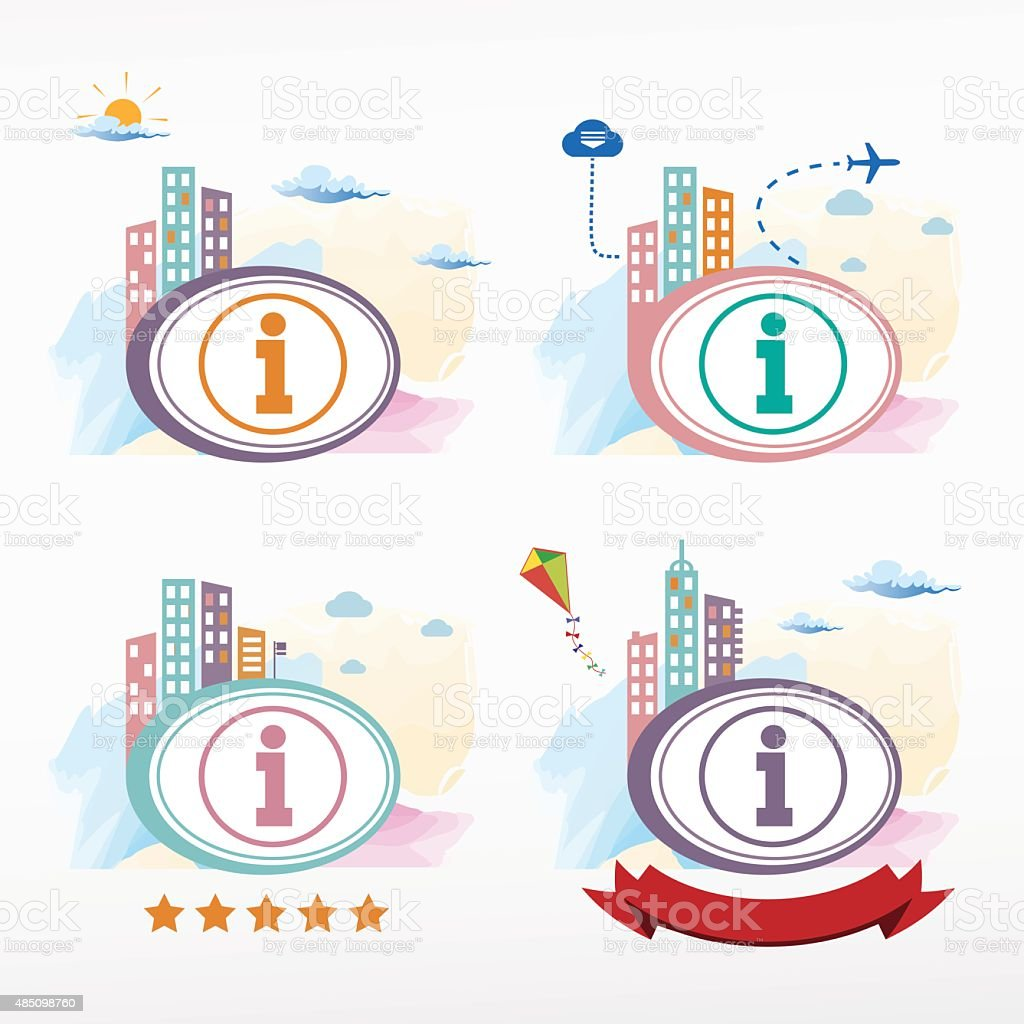 Information sign icon icon on city background. vector art illustration