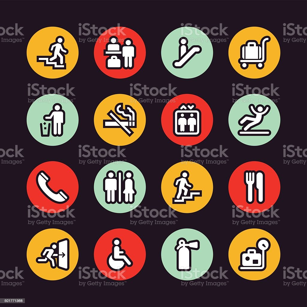Information Sign icons - Regular Outline - Circle vector art illustration