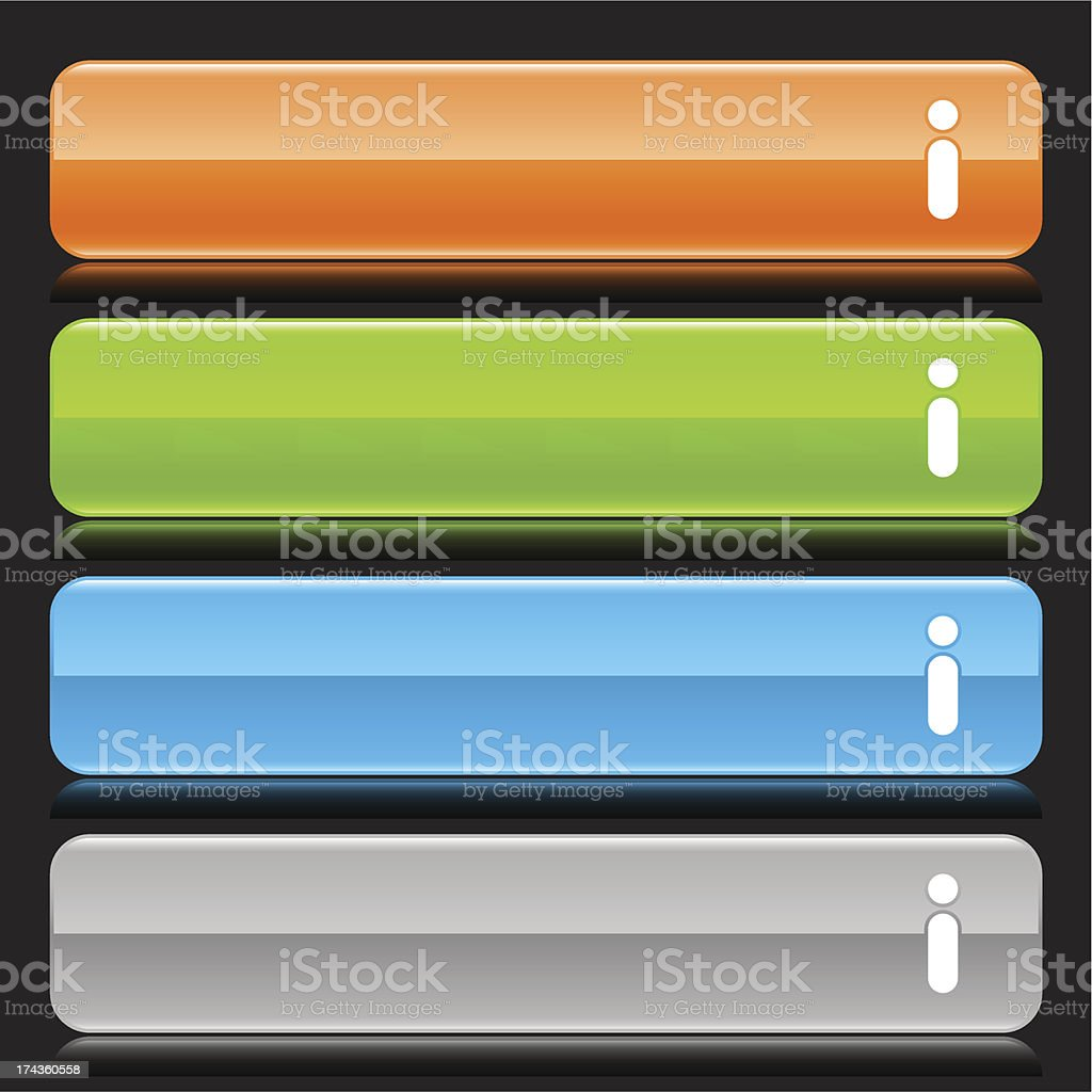 Information sign orange green blue gray button glossy icon royalty-free stock vector art