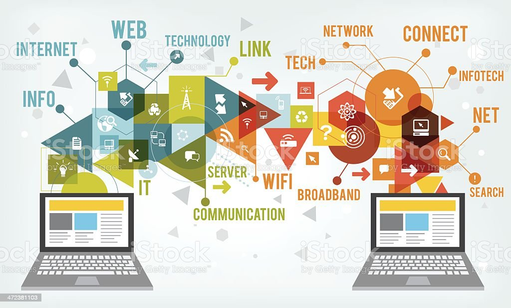Information technology vector art illustration