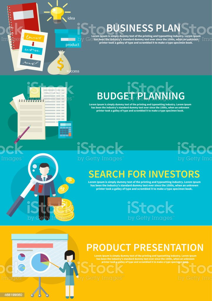 Informative drawing of budgeting and investing plan vector art illustration
