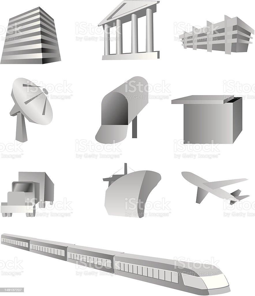 インフラストラクチャ、commnications 、交通 ロイヤリティフリーのイラスト素材