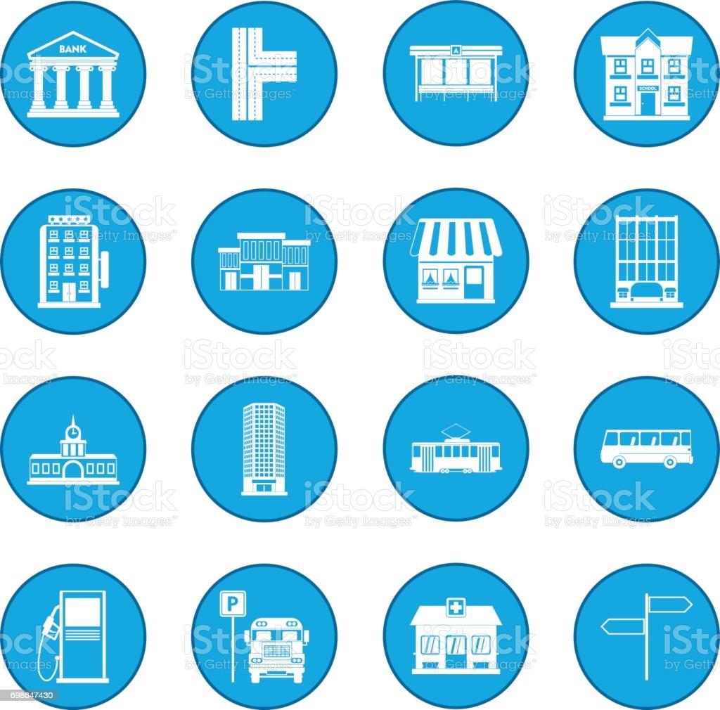 Infrastructure set icon blue vector art illustration