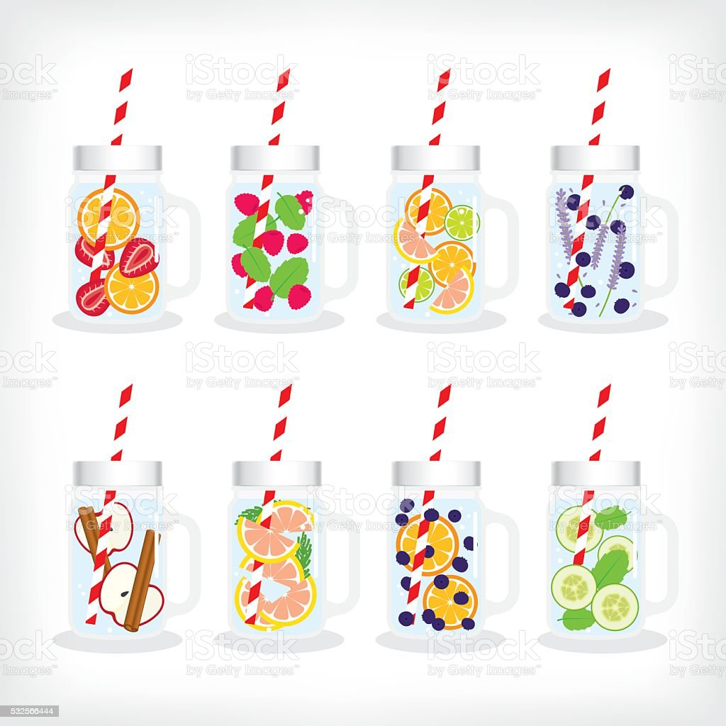 infused water in mason jar vector art illustration
