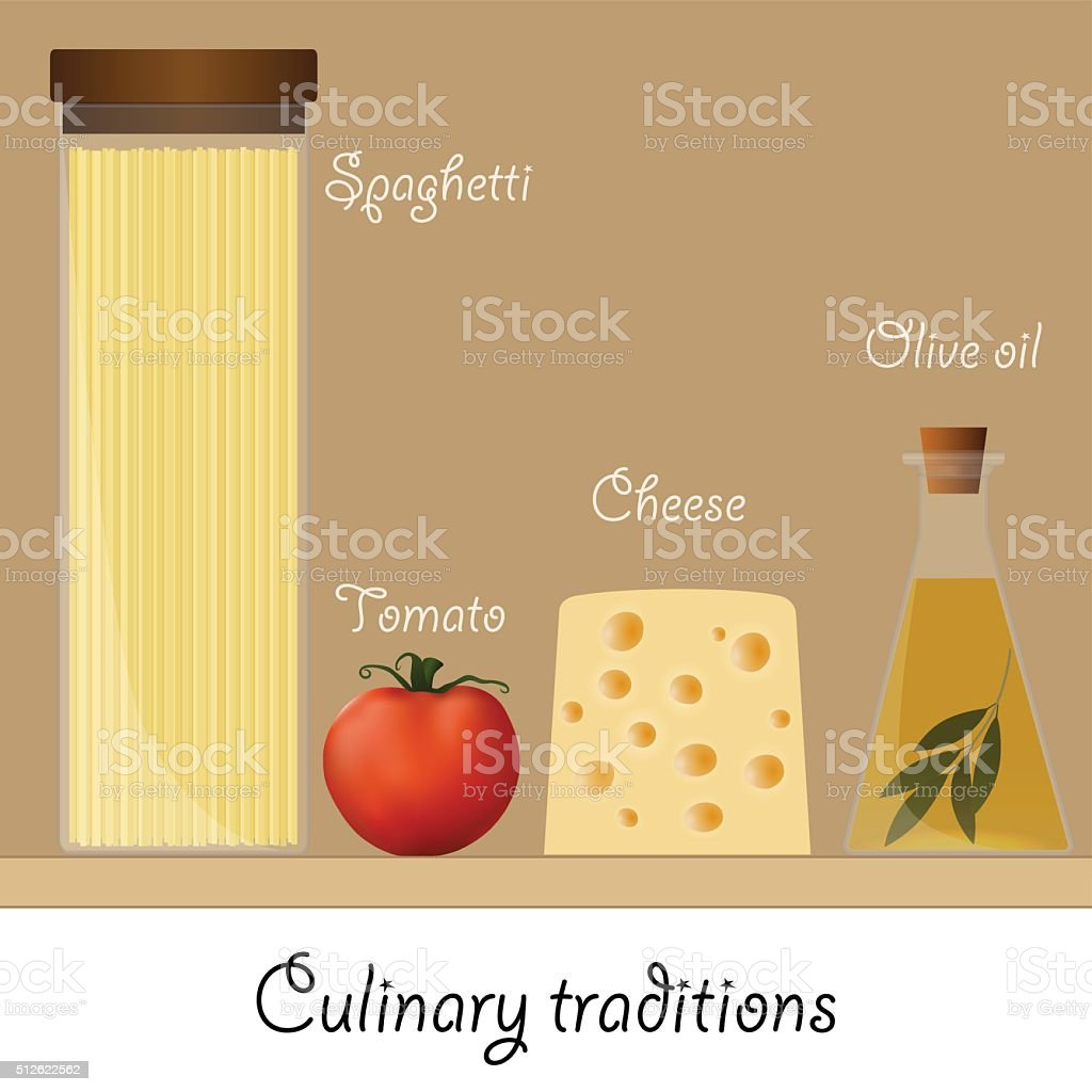 Ingredients for a classic pasta. Spaghetti, tomato, cheese, olive oil. vector art illustration
