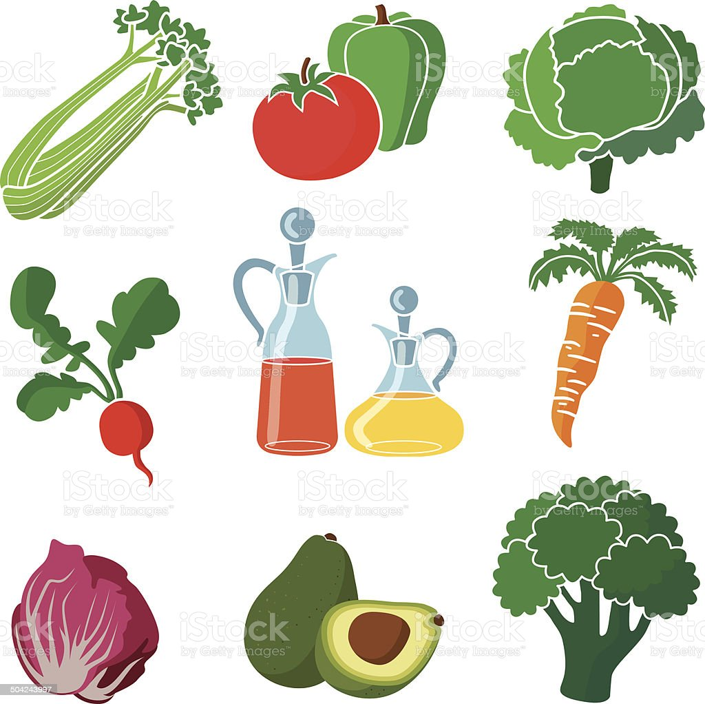 ingredients for a salad vector art illustration