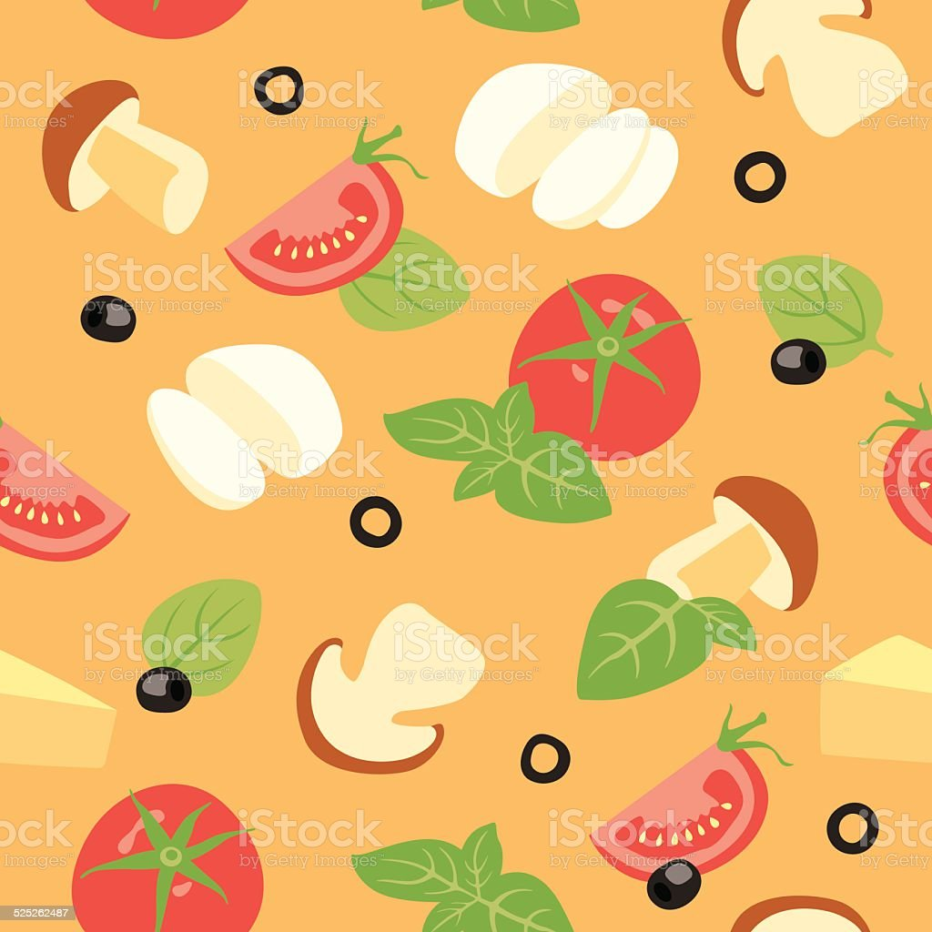 Pizza ai funghi Ingredients vector art illustration