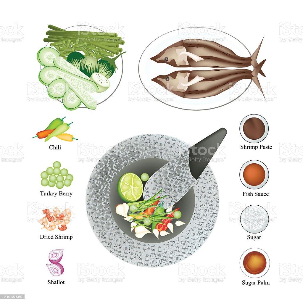 Ingredients Spicy Shrimp Paste Sauce Recipe vector art illustration