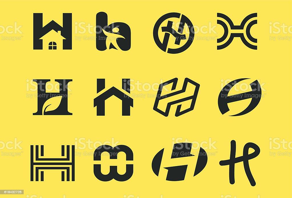 Initial H Symbol Collections.Trendy logo design vector art illustration