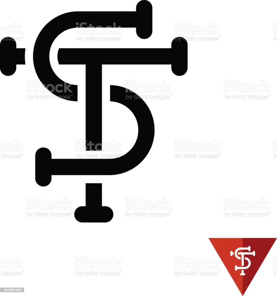 ST initial letters tattoo style symbol. vector art illustration
