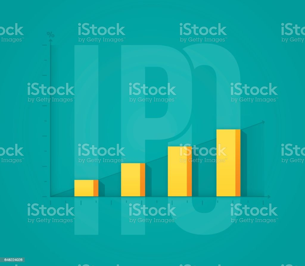Initial Public Offering Investment Stock Increase vector art illustration