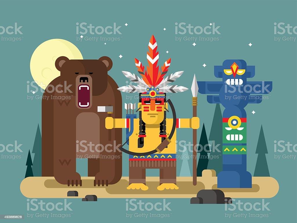 Injun character with bear vector art illustration