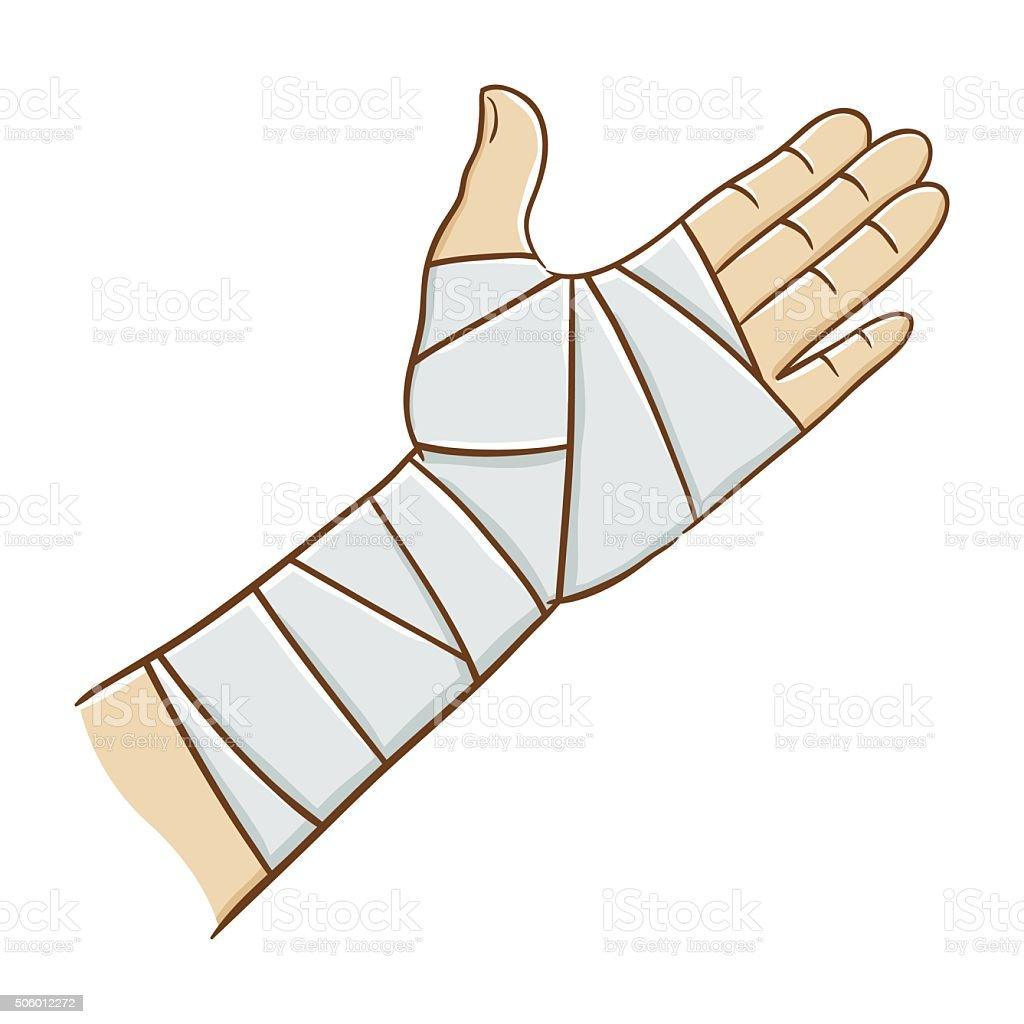 Injured Hand Wrapped in Elastic Bandage, Vector illustration vector art illustration