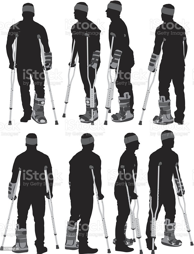Injured man on crutches royalty-free stock vector art
