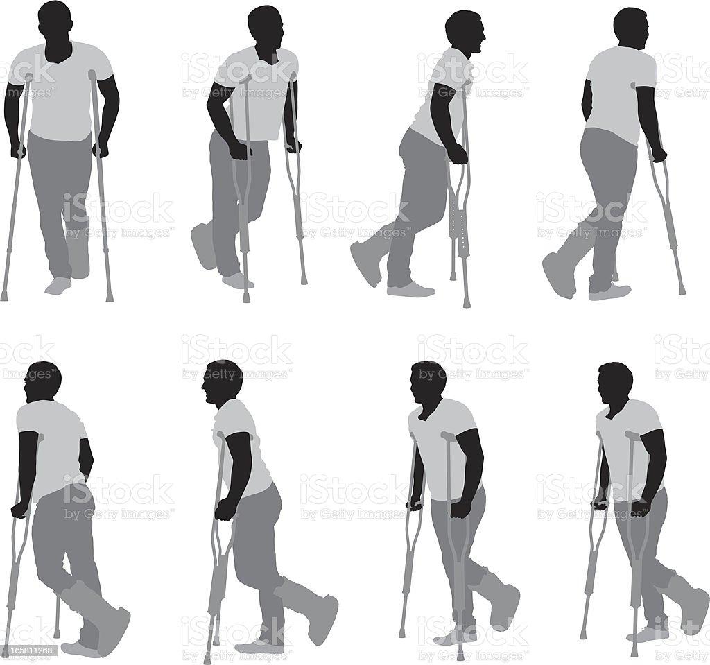 Injured man walkiing with the help of crutches vector art illustration