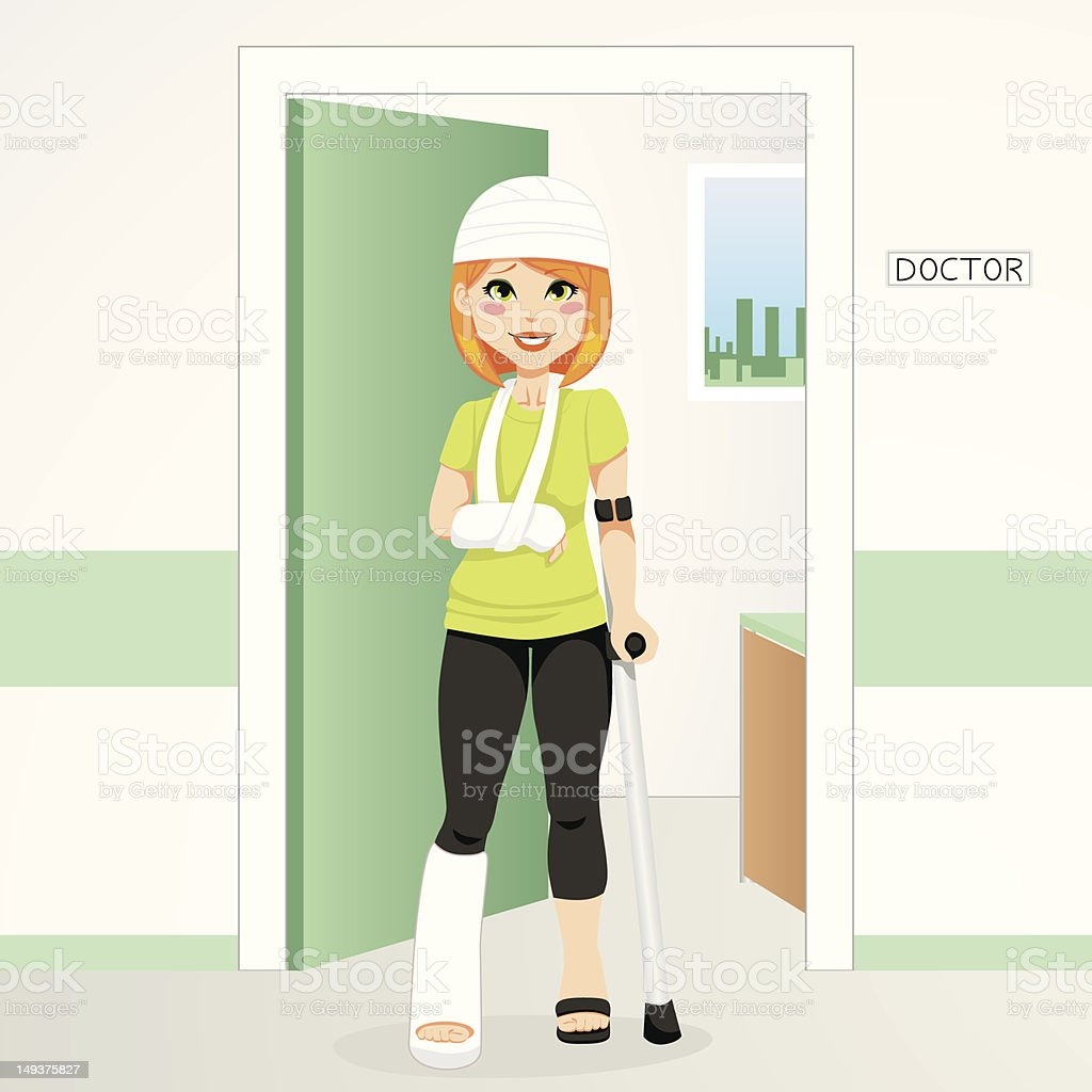 Injured Redhair Woman vector art illustration