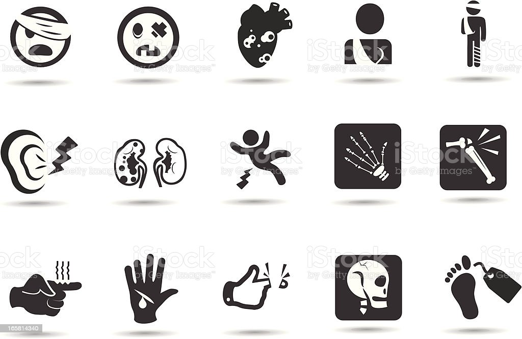 Injury Accident Icons vector art illustration