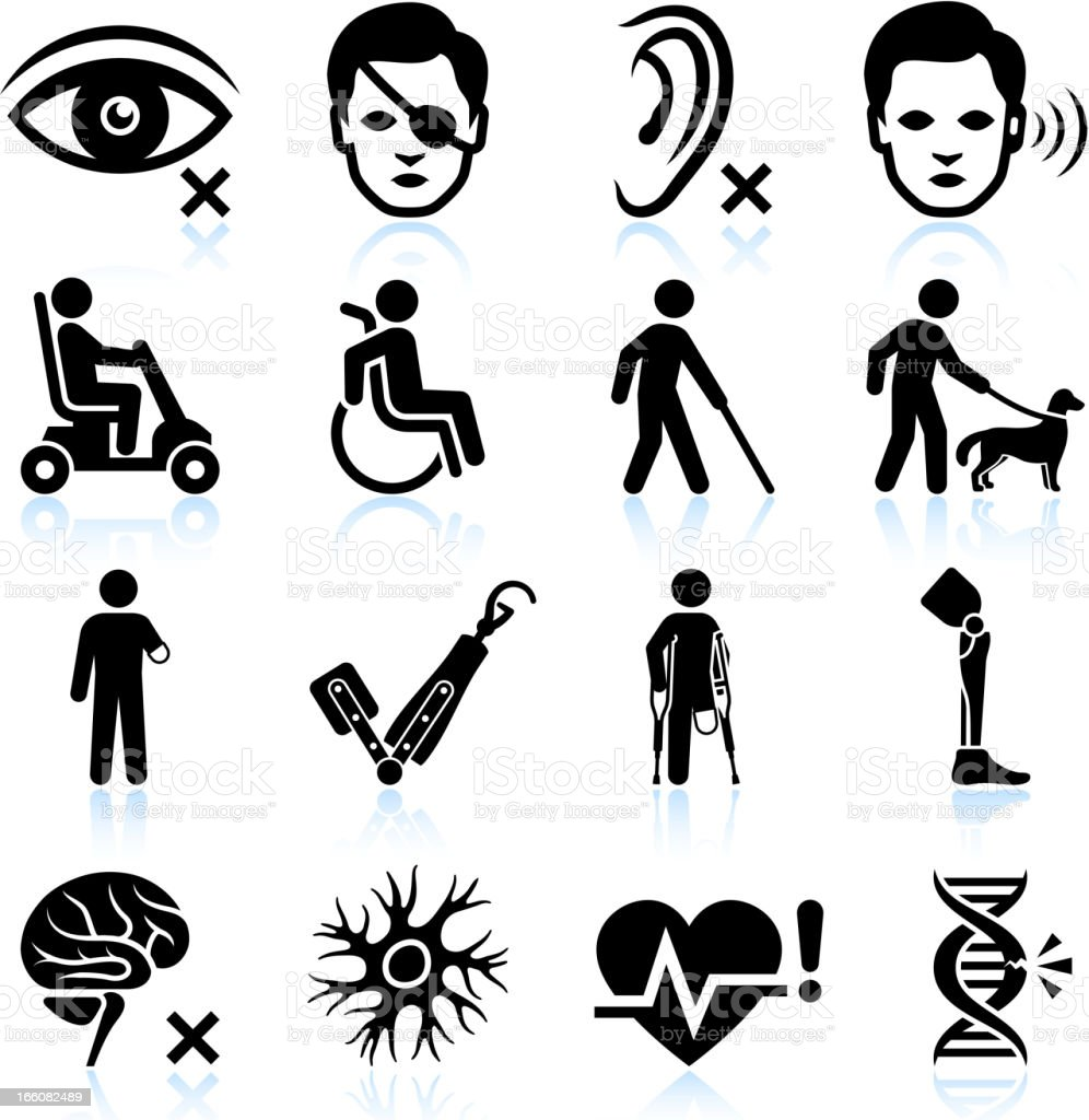 Injury and Disability black & white set vector art illustration