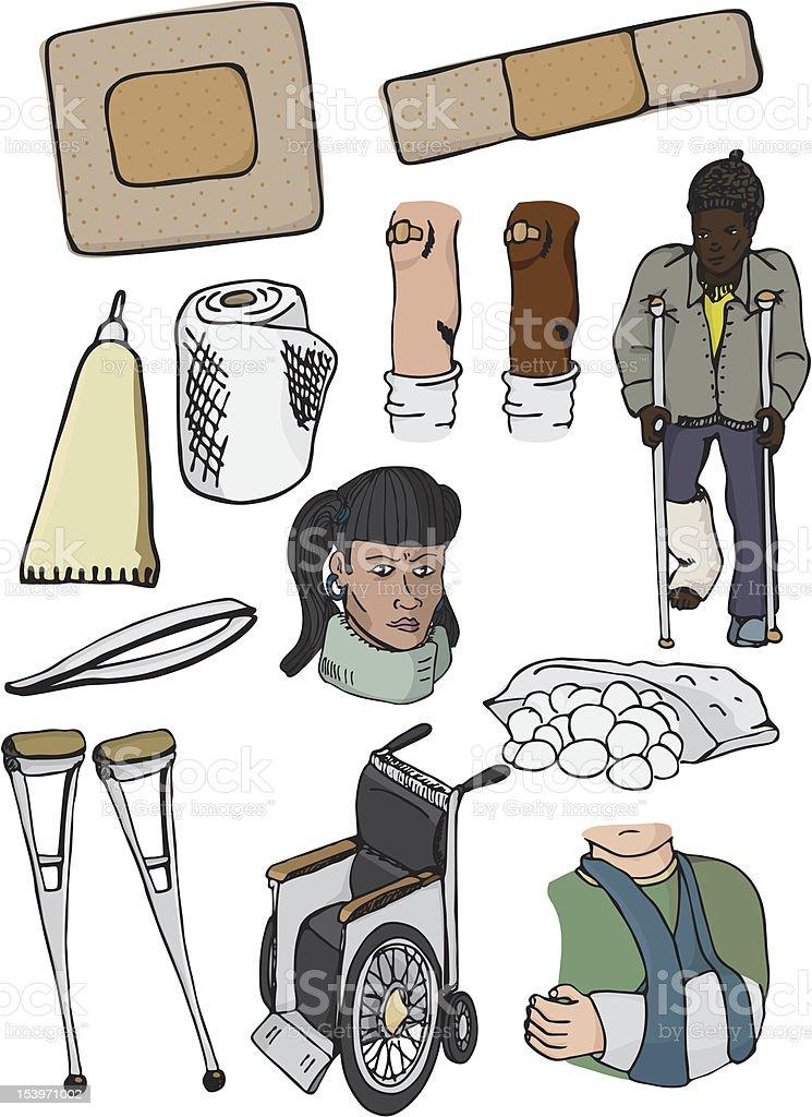 Injury Set vector art illustration