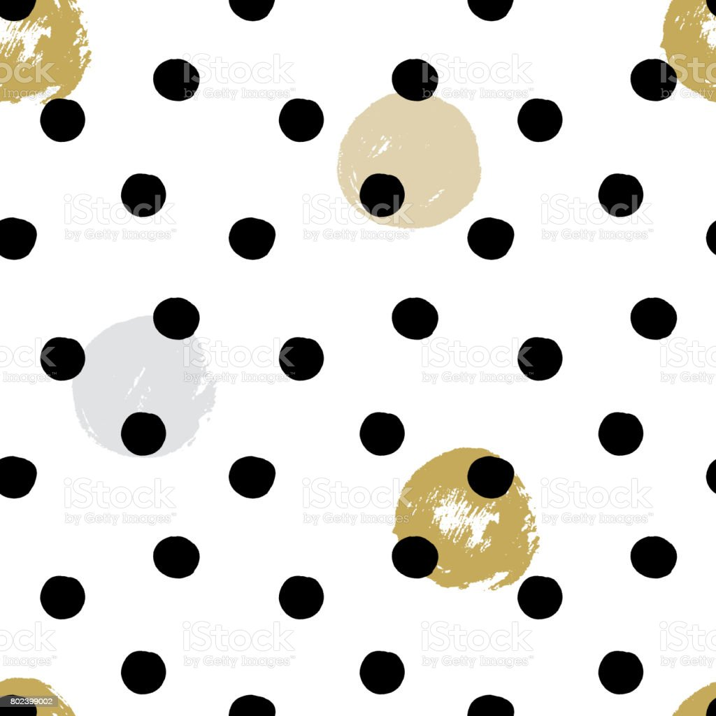 Ink and brush hand drawn seamless doodle design with polka dot and circles vector art illustration