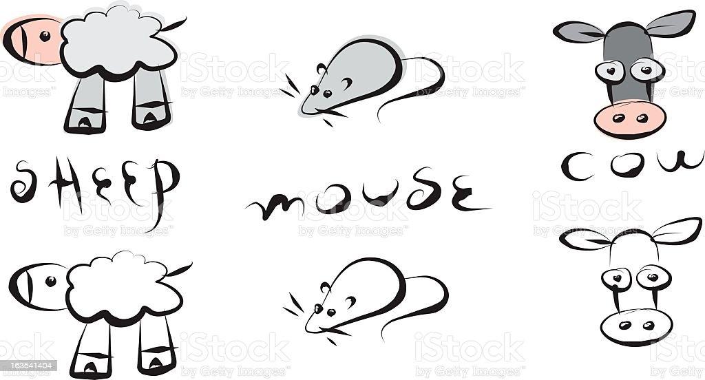 ink animals vector art illustration