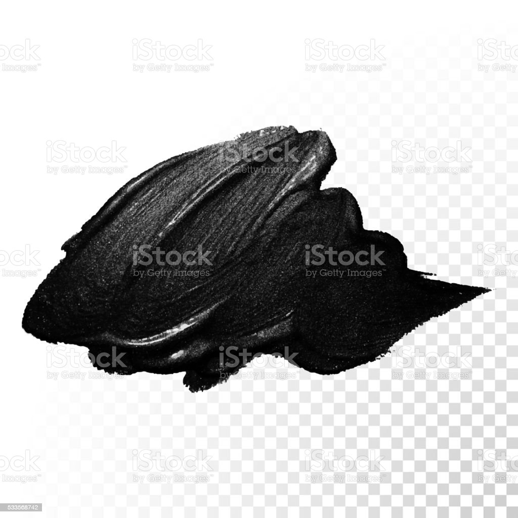 Ink black watercolor brush dab stroke. Vector oil paint gouache. vector art illustration